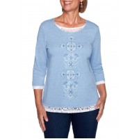 Alfred Dunner Women's Denim Friendly Floral Knit Top with Center Lace