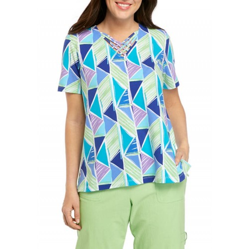 Alfred Dunner Women's Geometric Turquoise Skies Top