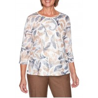 Alfred Dunner Women's Glacier Lake Texture Scroll Print Knit Top