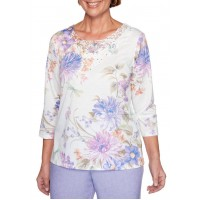 Alfred Dunner Women's Nantucket Floral Dragonfly Knit Top