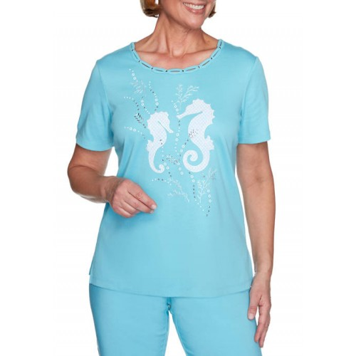 Alfred Dunner Women's See You There Seahorse Appliqué Top