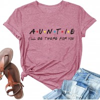 Auntie Shirt for Women Cute Aunt Gifts Tee Shirts Casual Aunt Vibes T-Shirt Vacation Tops at  Women's Clothing store