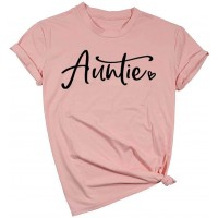 Auntie T Shirt Aunt Vibes Graphic Tees Women Letters Print Auntie Casual Short Sleeve Shirt Tops