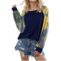 BTFBM Women T Shirt Graphic Letter Words Print Shirts Tie Dye Long Sleeve Crew Neck Plain Loose Funny Ladies Tops Tee at  Women's Clothing store