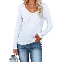 BZB Women's Long Sleeve Round Neck T Shirts Casual Tops Tee with Pocket at  Women's Clothing store