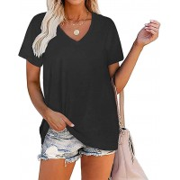Cicy Bell Women's V Neck T Shirts Short Sleeve Plain Summer Casual Basic Tees Tops