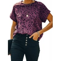 Coutgo Womens Leopard Print Tops Crew Neck Short Sleeve T-Shirts Casual Loose Summer Tee at  Women's Clothing store