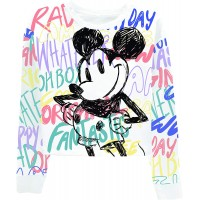 Disney Ladies Mickey Mouse Fashion Shirt Mickey Mouse Allover Long Sleeve Skimmer