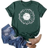 Earlymemb Womens Wildflower Shirts Summer Casual Short Sleeve Dandelion Printed Graphic Tees Tops at  Women's Clothing store