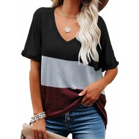 Ebifin Womens Loose Tunic Tops V Neck Short Sleeve T Shirts Casual Color Block Tee Blouses at  Women's Clothing store
