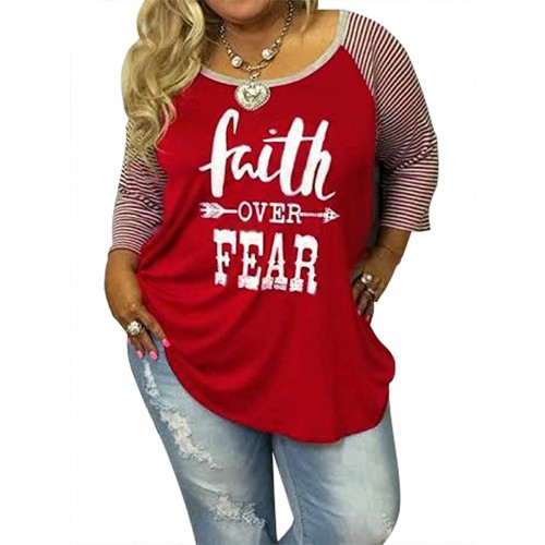 Faith Graphic Shirts Plus Size 3 4 Sleeve Baseball T Shirts for Women Funny Letter Print Oversized Casual Tee Tops at  Women's Clothing store