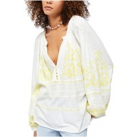 Free People Persuasion Embroidered Cotton Ivory S at  Women's Clothing store