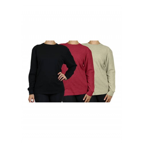 Galaxy by Harvic Women's Loose Fit Waffle Knit Thermal Shirt - 3 Pack