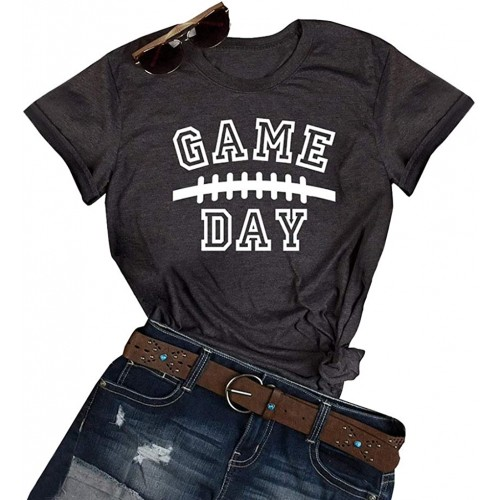 GEMLON Game Day Football T-Shirt for Women Letter Print Short Sleeve Casual Tee at  Women's Clothing store