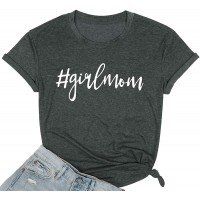 Girl Mom T Shirt for Women Mom Shirts Letter Printing Casual Mama Tee Tops at  Women's Clothing store