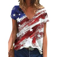 GLIGLITTR 4th of July Shirts for Women Summer Independence Day Short Sleeve T-Shirt Patriotic Tie Dye Color Block Tee at  Women's Clothing store