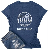 HDLTE Camping Tshirt Women Take A Hike Letters Printed Tops Casual Short Sleeve Graphic Tee at  Women's Clothing store