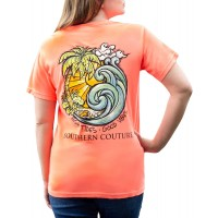 High Tides Good Vibes Neon Red Orange Cotton Fabric Comfort T-Shirt at  Women's Clothing store