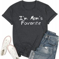 I am Mom's Favorite Tshirts Cute Mom Life Shirts Women Casual Mama Graphic Gift Tee Tops at  Women's Clothing store