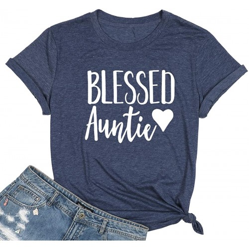 JINTING Blessed Auntie Shirts Women Auntie Letter Printed Short Sleeve Tee Shirt Top