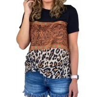 Leopard Buckstitch Color Block T Shirts Tee Women's Short Sleeve Crew Neck Casual Tee Shirt Vintage Splicing Blouse Tops at  Women's Clothing store