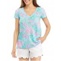 Lilly Pulitzer®  Women's Floral V-Neck Cap Sleeve Top