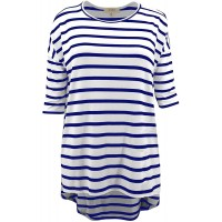 LUVAGE Women's Half Sleeve Crew Neck Loose Fit Striped Tops - Casual Summer Tunic Top T-Shirt at  Women's Clothing store