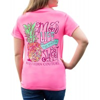 Mom Life is Sweet Pineapple Safety Pink Cotton Fabric Classic T-Shirt at  Women's Clothing store