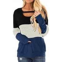 N D Women Color Block Comfy Long Sleeve Chest Cutout Shirts Loose Casual Tops Blouses T-Shirts