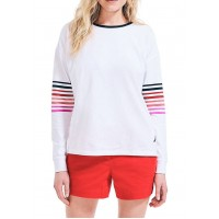 Nautica Women's Sustainably Crafted Striped Sleeve Top