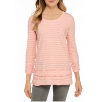 New Directions® Women's Raw Edge Striped Top