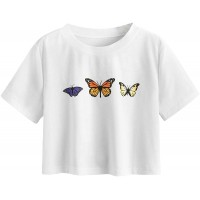 Romwe Women's Casual Butterfly Print Short Sleeve Summer Crop Top Tee Shirts at  Women's Clothing store