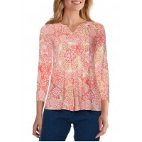 Ruby Rd Women's Happy Daze Pleated Medallion Blossom Printed Top