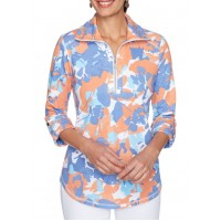 Ruby Rd Women's Must Haves 1/2 Zip Floral Collared Pullover
