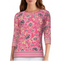 Ruby Rd Women's Must Haves Floral Stripe Puff Top
