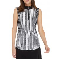 Ruby Rd Women's Relaxed 1/4 Zip Textured Striped Sleeveless UPF 50 Top