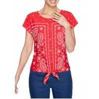 Ruby Rd Women's Textured Puff Printed Paisley Border Front Tie Top