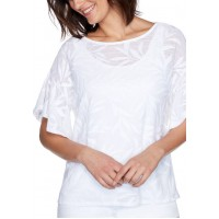 Ruby Rd Women's White Out Lined Solid Textured Fern Top with Flounce Sleeves