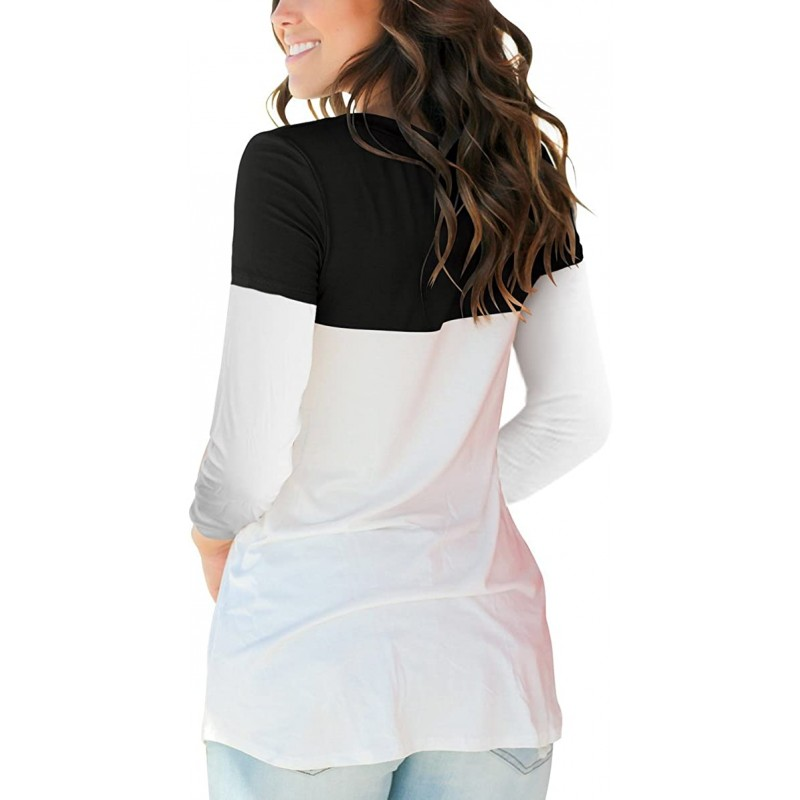 SAMPEEL Women's V Neck T Shirt with Suede Pocket Long Sleeve Fall Winter S-XXL at Women's Clothing store