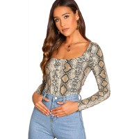 SheIn Women's Square Neck Long Sleeve Casual Animal Print Tee T-Shirt at  Women's Clothing store