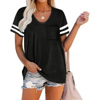 Sovelen Women's Casual Short Sleeve T-Shirt with Pocket Striped Color Block Scoop Neck Cute Tops Shirts Blouses at  Women's Clothing store