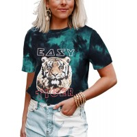 Women's Easy Tiger Graphic Tee Tie Dye T-Shirt Short Sleeve Casual Funny Tops at  Women's Clothing store