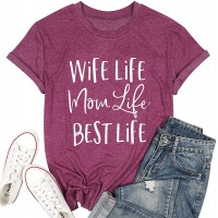 Womens Mama T Shirt Funny Wife Life Letter Tshirt Cute Mama Mother Graphic Shirt Short Sleeve Casual Tee Top at  Women's Clothing store