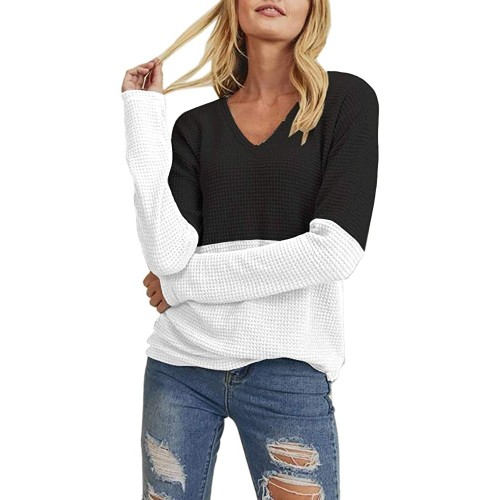 Womens V Neck Long Sleeve Thermal Waffle Knit Tops Color Block Casual Loose Warm Shirts at  Women's Clothing store