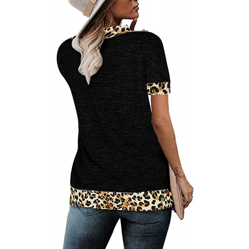 Women's V Neck Short Sleeve Tops Sexy Leopard Wrap Color Block Loose Tee Shirts at Women's Clothing store