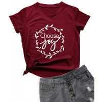 YEVEEY Funny T-Shirt Women's V-Neck Letter Print Casual Tee Short Sleeve Tops at  Women's Clothing store