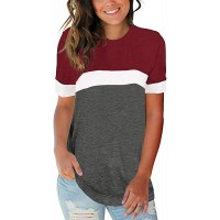 YONYWA Womens Plus Size Short Sleeve T Shirts Crew Neck Color Block Tunics Tops Casual Summer Basic Tees at  Women's Clothing store
