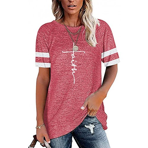 AELSON Women's Casual Faith Printed Round Neck Sweatshirt T-Shirts Tops Blouse with Pocket