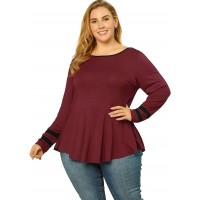 Agnes Orinda Women's Plus Size Peplum Top Boho Casual Tunic Ruffle Flowy Striped Fit Flare Tops Mothers Day at  Women's Clothing store