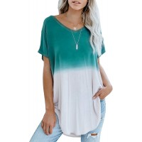 AlvaQ Women Short Sleeve Tunic Tops Colorblock V Neck Loose Casual Shirts Blouses at  Women's Clothing store
